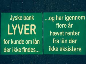 Financial help for lawyer search In the case against Danish bank jyske bank for fraud. :-) Indsæt dit bidrag her. Insert your contribution here Reg. 5479 konto nr. 0004563376 IBAN-kontonummer Account DK0854790004563376 ---------------------- See more at www.banknyt.dk Small family struggling against Jyske Bank.