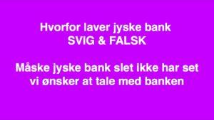 Jyske Banks #advokater Nægter at svare den lille kunde der opdager svindel af kunder i Jyske bank :-) Kend en længelænder på #knækket Kend en ost på #lugten Kend jyske bank på #løgnen :-) I jyske bank gør de det umulige muligt, man skulle tro det var løgn :-) Men det er jo løgnen, som jyske bank er godt kendt for. Som i #hedge sagen, #dårlig #rådgivning fik jyske #banken det ind under :-) Først #snyder en #jysk bank fra en Helsingør afdeling kunder ved nok #svindel, og #lyver derefter i #retsforhold ved hjælp af #Jyskebanks #advokater :-) Det handler også om #rentebytte #swap #mandatsvig #dokumentfalsk Og meget mere. Sagen der blev en god fortælling om jyske bank :-) Så sender #jyske bank Helsingør afdelingen kunden til #slagteren i #Silkeborg, hvor #slagtermester Sorry mener #inkassomester Birgit Buch Thuesen ra inkasso afdelingen jyske bank klar med #kniven :-) Birgit Buch Thuesen #benægter at jyske bank har #ansvar for noget :-) Birgit Buch Thuesen gik så hårdt til værks at #Bush spærrede alle kunden konti i banken, Alene for at aftvinge kunden de #frivillige underskrifter på flere #salgsfuldmagter og åbnede først kundens adgang til disse spærrede #konti i jyske bank efter kunde underskrev, og det helt frivilligt på 2 salgsfuldmagter, For at sikker jyske Banks interesser, som Birgit Buch Thuesen skræv :-) Birgit Buch Thuesen gjorder meget ud af at det var #frivilligt hun fik underskrævet salgsfuldmagt Både på kundens #private #hus og #ejendom, at spærre kunders konti er jo ikke #tvang mener jyske Bank :-) Ligesom jyske Banks #advokater deriblandt Morten Ulrik Gade der mener alt er som det skal være, og altsammen er kundens egen skyld, jyske bank har intet gjort galt og jyske bank har intet ansvar. :-) Lige da som jyske bank Casper Dam Olsen og Nicolai Hansen løbende stillede støre og støre krav om at få sikkerheder, for det falske lån og falske rentebytte af det falske lån, håber du kan følge med, for der er meget lort i sagen her :-) #Jyskebank fortsætter #Udnyt