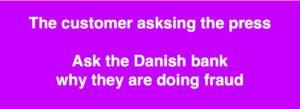 Ville du ikke som aktie ejer sætte pris på at få oplysninger om bedragerisager i dine investeringer :-) Verserende bedrageri svig sag imod jyske bank :-) Pengeinstitutankenævnet 328/2013 Retten 2015 BS 99-698/2015 Først om dårlig rådgivning men ændret til Svindel og bedrageri i 2016. Svig og falsk :-) :-) Find jyske bank her. Koncernledelse Anders Christian Dam Anders Dam kan sikkert selv svare på hvorfor Jyske Bank stadig hæver renter af et påstået optaget lån i Nykredit, med hovedstol på 4.328.000 kr. Når DIRIKTØR Anders Dam personligt er oplyst at der intet lån findes Som blandt andet er oplyst på denne her kontakt mail adresse til jyske Banks DIRIKTIONEN - Se link til jyske bank DIRIKTIONEN Måske vil Koncernledelsen og CEO DIRIKTØR Anders Dam forklare dig, hvorfor jyske bank bevidst og uhæderligt fortsætter et bedrageri forhold 29-06-2018, ved at hæve renter for lån, jyske bank har løjet optaget og løjet for retten som værende et bagvedliggende lån til en Swap rentebytte med jyske bank. En swap lavet 16-07-2008 og sendt 16-07-2008 - - Det var i 2007-2009 jyske Banks sælgere kunne nå at besøge flere landmænd om dagen, for at overbevise dem om at Swap rente bytte med jyske bank var bedrer end de lån der allerede var optaget. Jyske bank har super dygtige sælgere ansat som Løkkes at overbevise 1000 ender at lave en Swap rente bytte på kundens bagved lægende lån. Det var bare meget kritisabel rådgivning som kun var for at sikker jyske Banks øknomiske interesser Vi kender alt til dem grønne slagter som landbruget kalde jyske Bank, der efter slagtede landbrug på stribe. - Men tilbage til sagen VI HAR INTET LÅN 4.328.000 kr. VI HAR ALDRIG HARFT NOGET LÅN PÅ 4.328.000 kr. VI HAR INTET AT BYTTE RENTER MED ALIGEVEL BLIVER JYSKE BANK VED MED AT LYVE OG BEDRAGE OS - FIND EN ÆRLIG BANK FIND JYSKE BANK OG SPØRG HVAD ÆRLIG BETYDER I JYSKE BANKS ORDBOG FOR DER ER NÆPPE TALE OM TROVÆRDIGHED NÅR JYSKE BANK UDTALER SIG :-) :-) Jyske bank bedrager kunde bevidst, nu på 10'ende år. AT
