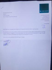 27-09-2018 Anders Dam svare for første gang på de henvendelser der er sendt løbende siden 2016 Desværre ønsker Anders Dam ikke at indrømme svig / bedrageri i mod bankens kunde, der tydligt oplyste jyske bank, og som eksempel 19-05-2016 skriver til Dams advokater og lederen selv, at dette er vist et kæmpe bedrageri.