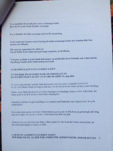 09-07-2018 brev til juradisk jyske bank - side 5/6 Advokat Morten Ulrik Gade Halo vi har ikke lånt 4.328.000 Jyske bank nægter at svare