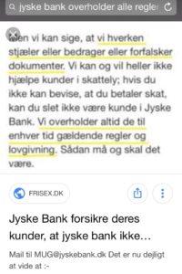 Måske jyske bank selv tror på det de skriver For helvede i jyske bank lyver i som bare pokker