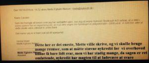 18-10-2016 svare Nykredit's advokat Mette Egholm Nielsen på det spørgsmål som Jyske Banks ledelse og advokater ikke har ville svare på, trods utallige henvendelser På spørgsmål om vi har optaget et lån på 4.328.000 kr i Nykredit måtte Nykredit først stævnes før Nykredit ville svare på noget som helst. Som Mette Egholm sagde på møde der kom i stand efter vi stævnede banken Nykredit ville ikke leverer skyts imod jyske bank
