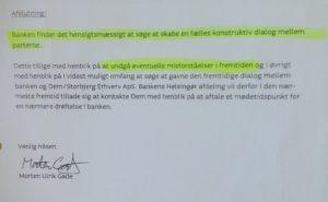 17-11-2015 Morten Ulrik Gade forslår dialog, frem til kunden opdager at jyske bank laver bedrageri, derefter nægter jyske bank dialog.