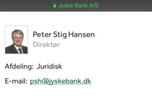 Advokat Peter Stig Hansen DIRIKTØR i Juraidisk jyske bank