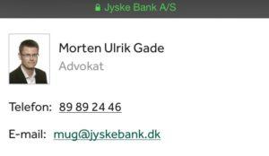Morten Ulrik Gade advokat jysk bank