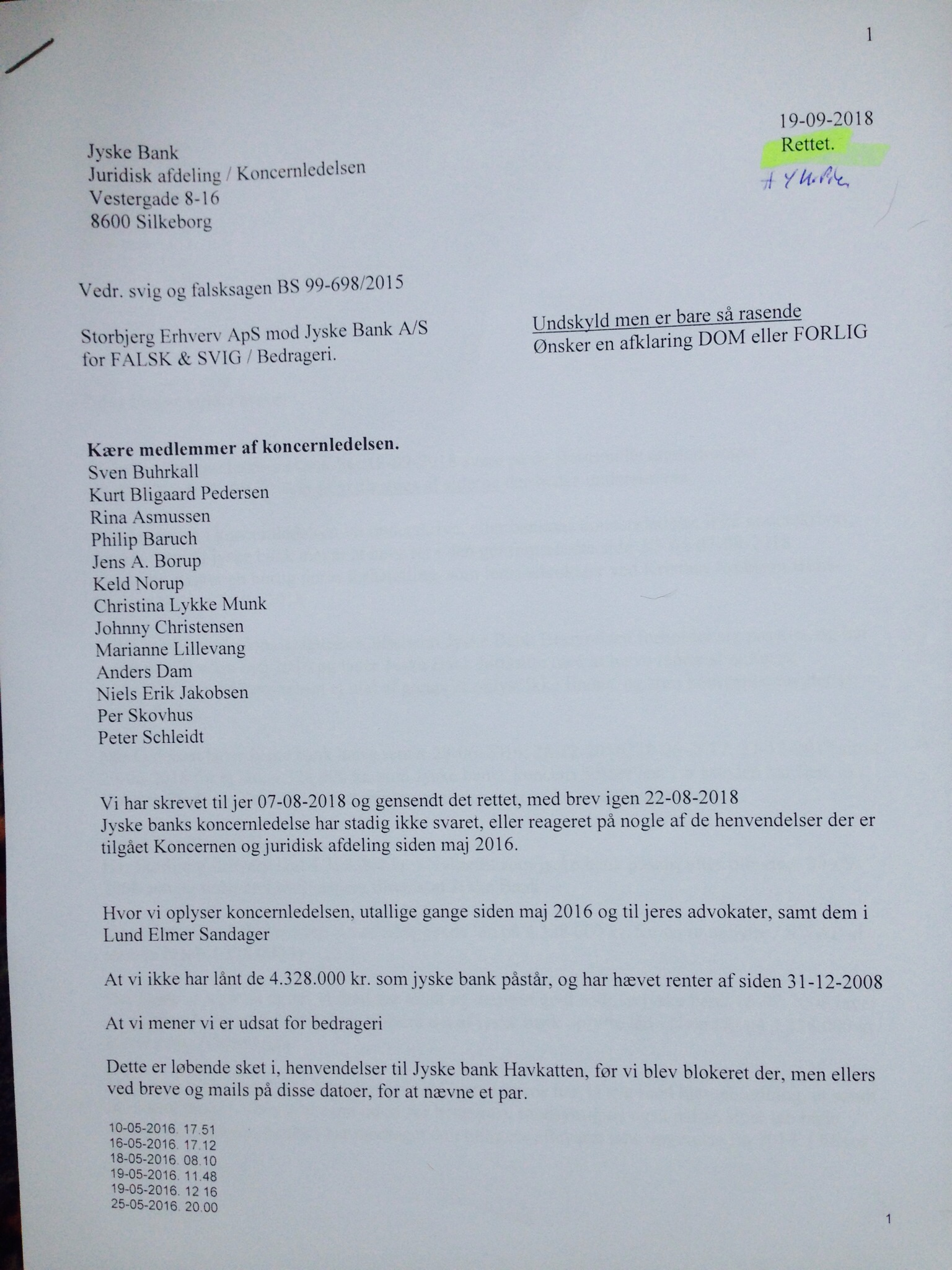 """Final Procedure page 1-52. date 28-10-2019. Danish bank Jyske Bank in major fraud case, plaintiff discovers that Jyske bank has paid their lawyer Lundgren's return commission, not to present the client's case to court. """"Bribery"""" presented in Case BS-402-2015"""