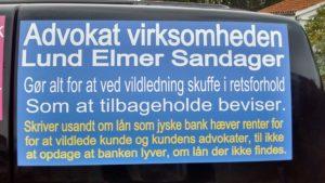 I Lund Elmer Sandager advokater syntes partner Philip Baruch At er det i orden at tilbageholde oplysninger for retten, som det at kunde ikke har det lån jyske bank fastholder at ville have renter af Kunde er blevet ret sur på koncern ledelsen i jysk bank, der siden 2016 har nægtet at stoppe bedrageri