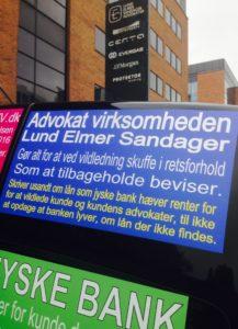 Den er da sød Og måske vil Lund Elmer Sandager Advokaterne Indrømme at Advokatfirmaet hjælper jyske bank med at fortsætte bedrageri mod bankens kunde