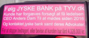 Kunder kæmper imod Danmarks næst største bank JYSKE BANK For at få bankens koncern ledelse til at stoppe bedrageri